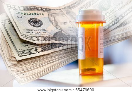 Medicine Bottles And Money