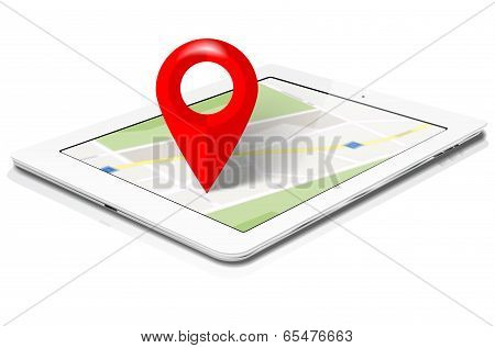 White Tablet With Abstract Map And Red Marker On Screen
