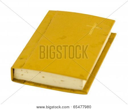 Old Prayer Book With Hard Cover Isolated On White