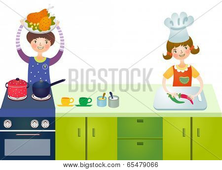 The view of children is cooking at the kitchen
