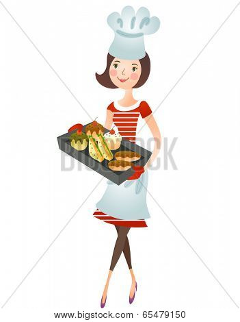 The view of woman is holding a tray