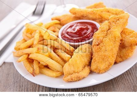 french fries and fries chicken