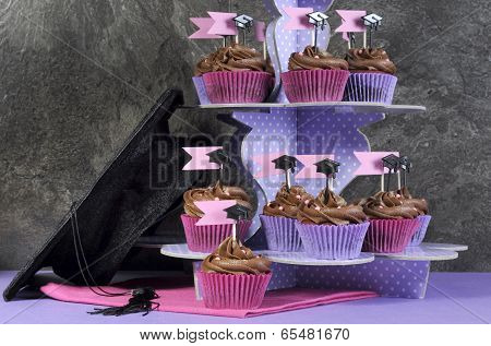 Graduation Day Pink And Purple Party Cupcakes And Large Cap.