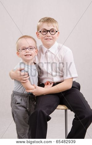 Portrait Of Two Teenage Boys In Glasses