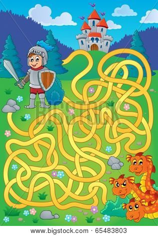 Maze 1 with knight and dragon theme - eps10 vector illustration.