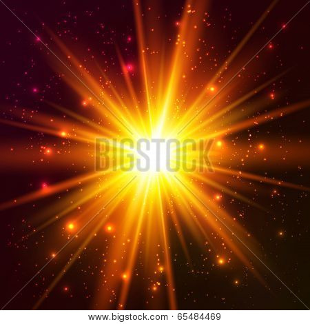 Yellow cosmic vector explode
