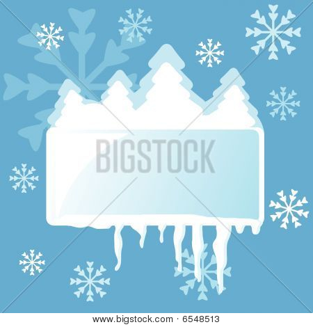 Abstract winter frame with fir-trees, snowflakes and icicles