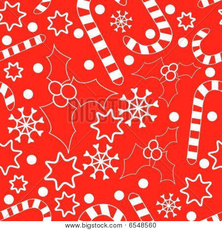 Seamless pattern with hollies, candy-canes, snowflakes and stars