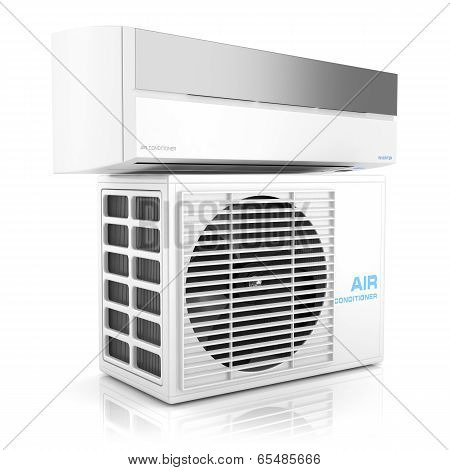 Modern Air Conditioner Isolated On White Background. 3D
