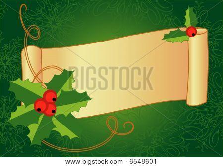 Постер, плакат: Рождественские баннер с Холли ягоды и винтажные прокрутки, холст на подрамнике