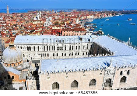 aerial view of San Marco and Castelo districts in Venice, Italy, with the Palazzo Ducale in the foreground