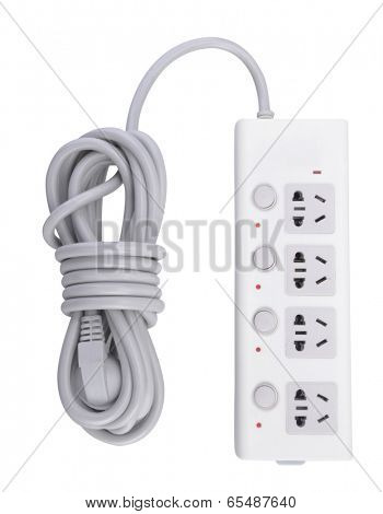 Electric extension strip isolated on white background