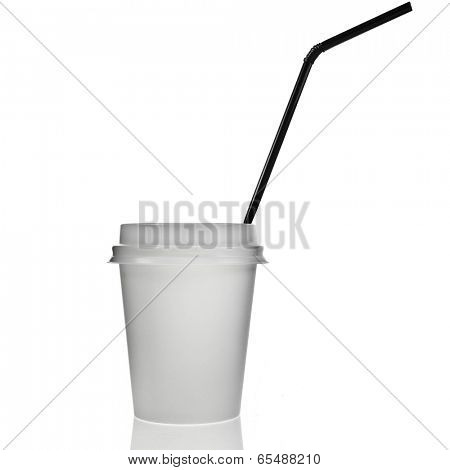 Single Disposable cup for hot drinks with  top and black straw  isolated on white background