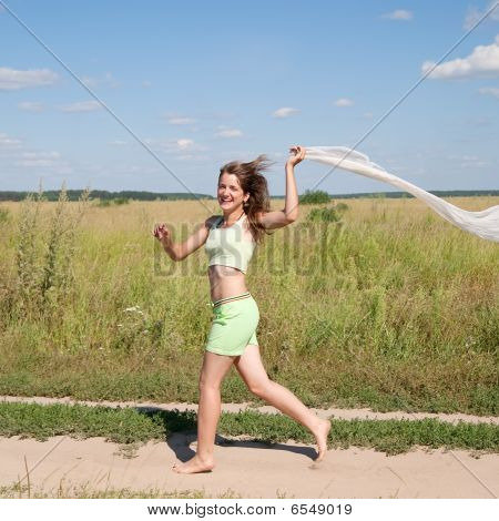 Running Long-haired Teen Girl