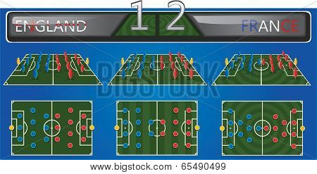 Vector illustration of soccer field with strategy formation