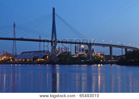 Hamburg - Koehlbrand Bridge In The Evening
