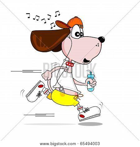 A cartoon dog keeping fit