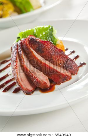 Oven Crisp Duck Breast Marinated In A Peking Duck Style Sauce On