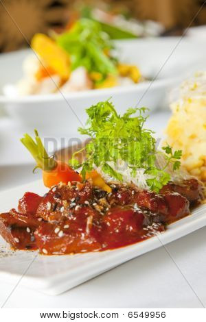 Asian Dish With Beef, Noodles And Vegetables