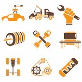 pic of habilis  - set of 9 car parts and auto icons with brown and orange color theme - JPG