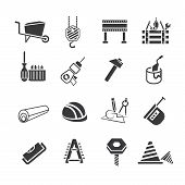 foto of habilis  - set of 16 construction and industrial tools icons - JPG