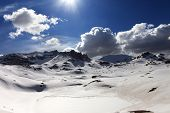 stock photo of plateau  - Plateau and lake covered snow - JPG