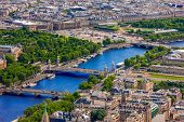 stock photo of obelisk  - View of Paris Pont Alexandre III Luxor Obelisk and Place de la Concorde from the Eiffel tower - JPG