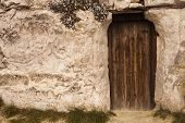pic of wizard  - Old Wizard cave house entrance door  - JPG