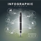 picture of flow  - creative flow chart with fountain pen writing informations in a technology space can be used for infographics and banners concept vector illustration - JPG