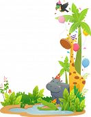 stock photo of safari hat  - Border Illustration Featuring Safari Animals Wearing Party Hats - JPG