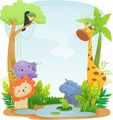 Постер, плакат: Background Illustration Featuring Cute Safari Animals