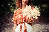 image of elderflower  - A young woman is holding a bunch of elderflowers she has been picking - JPG