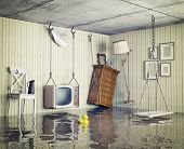 stock photo of flood  - ordinary life in the flooded flat - JPG