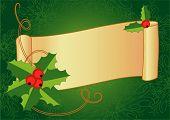 Постер, плакат: Рождественские баннер с Холли ягоды и винтажные прокрутки