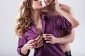 picture of undressing  - Horizontal view of a couple in love - JPG