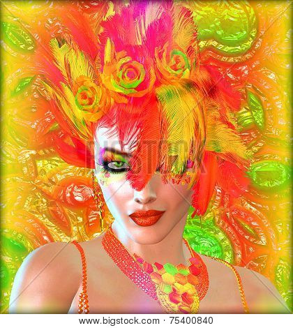 Colorful feather hat or a hairstyle.