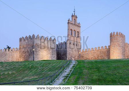 Ancient City Wall In Avila