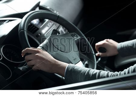 Woman Driving Hands Close-up