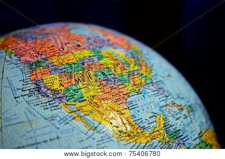 Close Up Globe Of The World