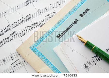 Music Score, Manuscript And Pen
