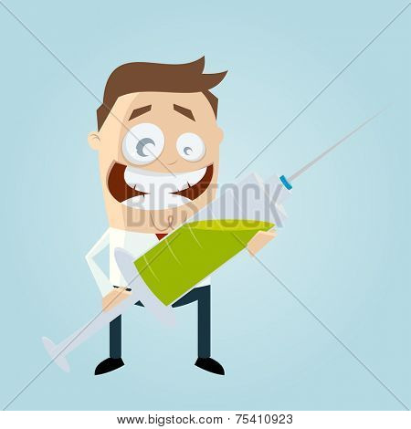 funny cartoon man with big syringe