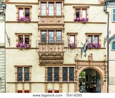 COLMAR, GERMANY - APR 7, 2015: Maison des Tetes medieval house in the city of Colmar along the famous wine route of Alsace France