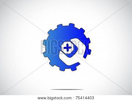 Blue Colorful Cog Wheel Gear With Screw Nut Or Bolt & Spanner. Bright White Background With A Blue