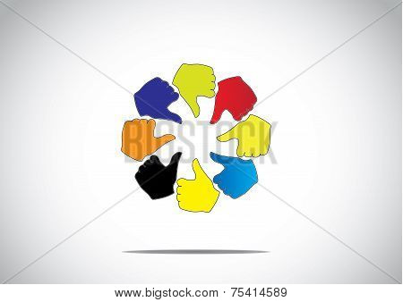 social media ring of colorful thumbs up like unlike dislike icon symbol concept illustration art