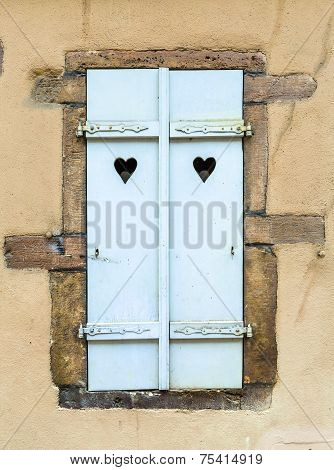 Wooden Planks Background With Heart Shapes At Little Venice In Colmar