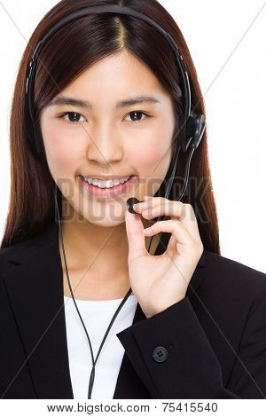Call center operator hold with microphone