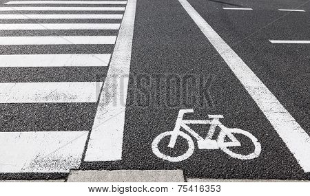 Bicycle Lane Sign Across Road