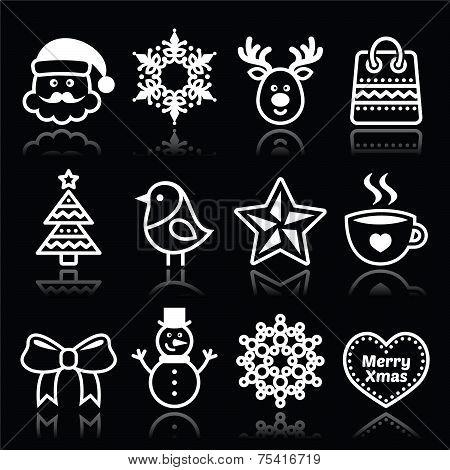 Christmas, winter white icons set on black