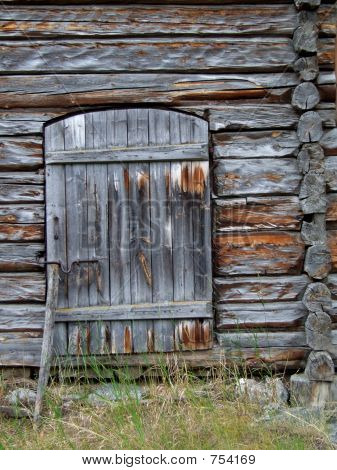 Wooden door in an old cottage