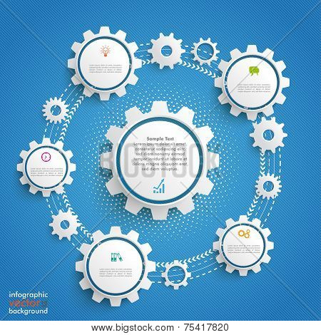 Gears Cycle Infographic Blue Background